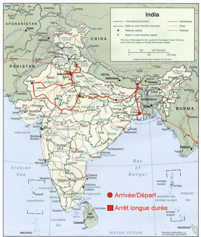 Itinéraire du projet en Inde